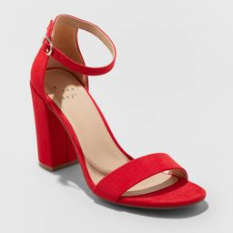 Women's Ema Microsuede High Block Heel Sandal Pumps - A New Day Red 8 | Target