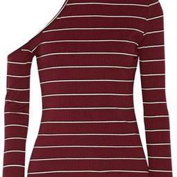 W118 By Walter Baker Woman Chrissy One-shoulder Striped Ribbed-knit Turtleneck Sweater Burgundy Size M   The Outnet US