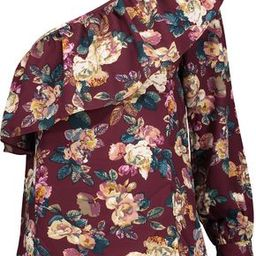 W118 By Walter Baker Woman Donna One-shoulder Ruffled Floral-print Crepe De Chine Top Merlot Size XS   The Outnet US