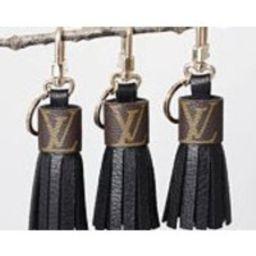 Louis Vuitton Canvas Genuine Leather Keychain Bag Charm Tassel, BLACK repurposed upcycled Monogram Print | Etsy (US)
