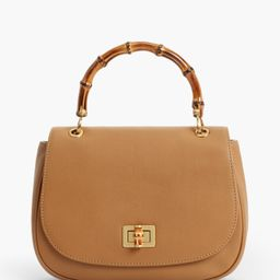 Bamboo-handle Bags - Pebbled Leather - CAFE - OS - Talbots   Talbots
