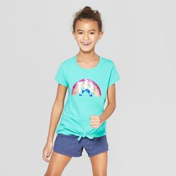 Girls' Short Sleeve Tie Front Rainbow Flip Sequins T-Shirt - Cat & Jack Green XS   Target