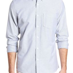Men's 1901 Trim Fit Washed Oxford Shirt, Size Small - Grey | Nordstrom