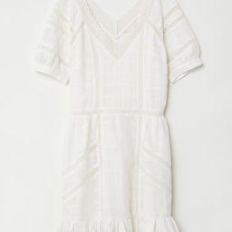 H & M - V-neck Cotton Dress - White | H&M (US)