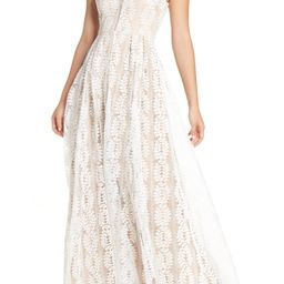 Women's Lulus Eliana Lace V-Neck Gown, Size X-Small - White | Nordstrom