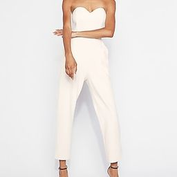 Express Womens Strapless Sweetheart Neckline Jumpsuit White Women's 2 White 2 | Express