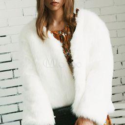 Faux Fur Coat Women White Coat Round Neck Long Sleeve Faux Fur Jacket | Milanoo