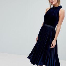 Ted Baker Pleated Midi Dress in Velvet - Dark blue   ASOS UK