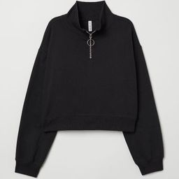 H & M - Stand-up Collar Sweatshirt - Black   H&M (US)