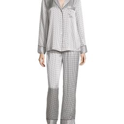 Dot & Diamond-Print Pajama Set, White/Black, Size: LARGE - Neiman Marcus | Neiman Marcus