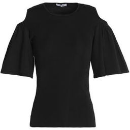 Ganni Woman Cold-shoulder Ruffled Stretch-knit Top Black Size XS   The Outnet US