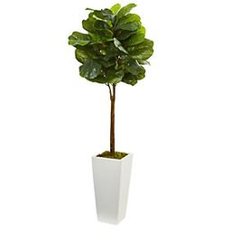 4' Fiddle Leaf Tree in White Tower Planter by N early Natural   QVC