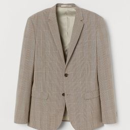 H & M - Skinny Fit Checked Blazer - Beige   H&M (US)