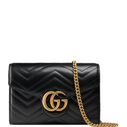GG Marmont Chevron Quilted Leather Flap Wallet on a Chain | Neiman Marcus
