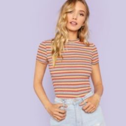 Ribbed Knit Striped Tee | SHEIN