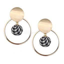 Gold Earrings Evening Party Pom Poms Women Hoop Earrings Jewelry   Milanoo