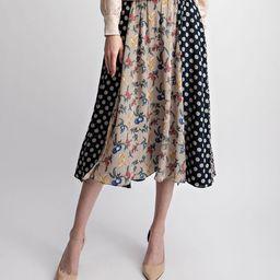 Navy Polka Dot Pleated Midi Skirt - Women   zulily