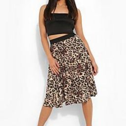 Petite Leopard Print Pleated Midi Skirt | Boohoo.com (US & CA)