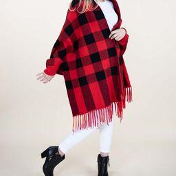 Red Buffalo Check Fringe Dolman Cardigan - Women   Zulily