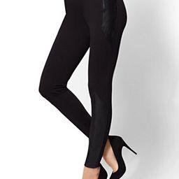Soho Jeans - Faux-Leather Panel Legging - Ponte | New York & Company