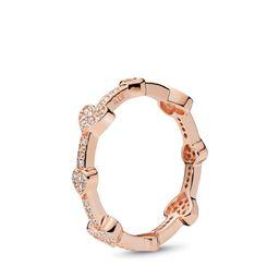 PANDORA Alluring Hearts Ring - Cubic Zirconia / Rose   Pandora (UK)