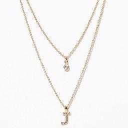 LOFT Layered Pave Initial Necklace | LOFT