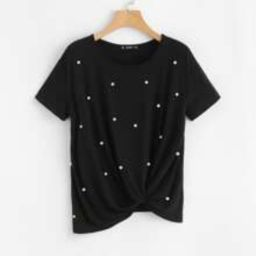 Pearl Embellished Twist Front Tee | SHEIN