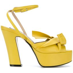 No21 abstract bow platform sandals - Yellow | FarFetch Global