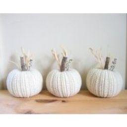 Fall Decor  White Pumpkins Set of Three Thanksgiving Autumn Decor Crocheted Pumpkins Halloween Primitive Country Decor Farmhouse Decor | Etsy (US)