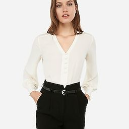 Express Womens Button Front Blouson Sleeve Chelsea Popover   Express