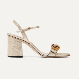 Gucci - Marmont Logo-embellished Metallic Cracked-leather Sandals - Gold   Net-a-Porter (US)