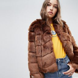 Jakke cropped faux fur paneled coat - Brown   ASOS US