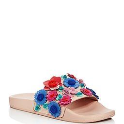 kate spade new york Women's Skye Floral Leather Pool Slide Sandals | Bloomingdale's (US)