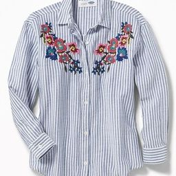 Old Navy Girls Floral-Embroidered Boyfriend Shirt For Girls Blue Stripe Size L   Old Navy US
