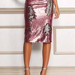 Eva Mendes Collection - Petite Kat Pink Sequin Skirt | New York & Company
