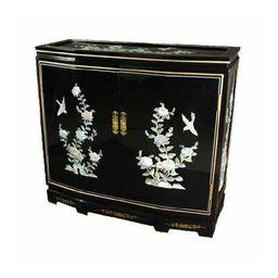 Asian Floral Design Slant Front Accent Cabinet | Wayfair North America