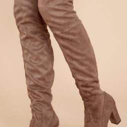 Great Strides Taupe Knee High Boots   Red Dress
