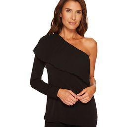 MICHAEL Michael Kors Pleat One Shoulder Top (Black) Women's Clothing | 6pm