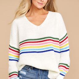 Mean It The Most Ivory Rainbow Stripe Sweater | Red Dress