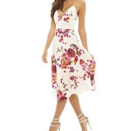 Cream & Pink Floral Cross-Strap Fit & Flare Dress - Women | zulily
