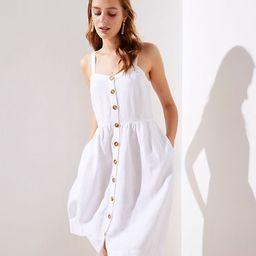 LOFT Strappy Button Down Pocket Flare Dress | LOFT
