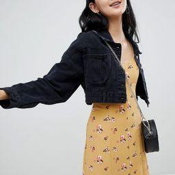 Pull & Bear cropped denim jacket in black - Black | ASOS US