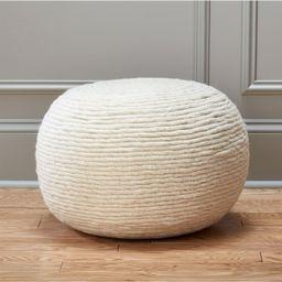 wool wrap natural pouf | CB2