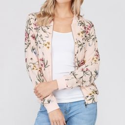 Blush Floral Bomber Jacket - Women | zulily
