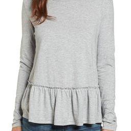 Petite Women's Caslon Peplum Tee, Size Medium P - Grey | Nordstrom