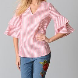 Red & White Stripe Tiered-Sleeve V-Neck Top - Women & Plus | zulily