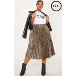 Plus Tan Leopard Pleated Midi Skirt   Pretty Little Thing US