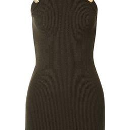 Balmain - Button-embellished Ribbed Wool-blend Mini Dress - Army green | Net-a-Porter (US)