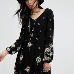 Free People Embroidered Mini Smock Dress - Black combo | ASOS UK