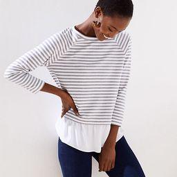 LOFT Striped Mixed Media Sweatshirt | LOFT
